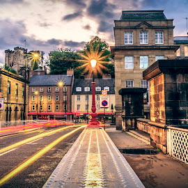 Light Trails from the Swing Bridge by Davey T - Buildings & Architecture Public & Historical ( wing bridge, sunset, quayside, light trails, newcastle, north tyneside, evening )