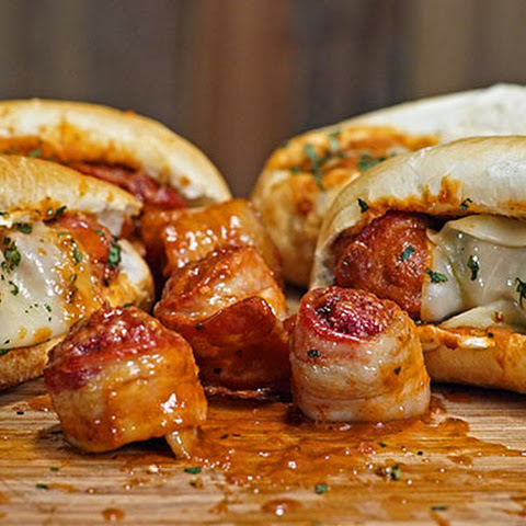 Bacon Wrapped Meatball Sandwich