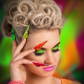 Colour by Bartas Mi - People Portraits of Women ( model, girl, color, colors, woman, background, beauty, nails, portrait )