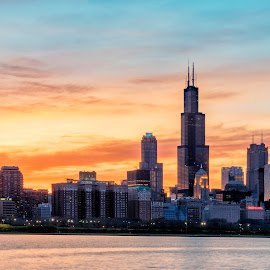 A Spring Sunset by Vinod Kalathil - City,  Street & Park  Skylines ( skyline, tower, sunset, silhouette, cityscape, chicago )