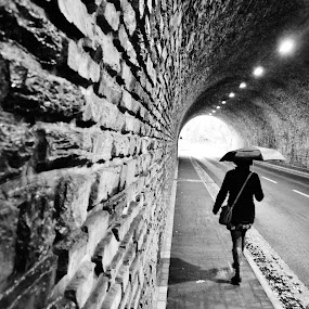 walking into the light by David Van der Smissen - City,  Street & Park  Street Scenes ( love, darkness, light, tunnel )