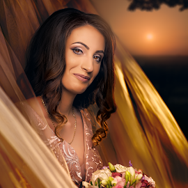Angela by Roxana Gina Goron - Wedding Bride ( love, bride, sunset, wedding, portrait )