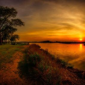 The Blaze by Linda Karlin - Landscapes Sunsets & Sunrises ( sunset, landscape )
