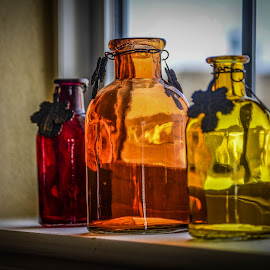 Sunlit Bottles by Robert Coffey - Artistic Objects Still Life ( sill, window, glass, sunlight, bottle,  )