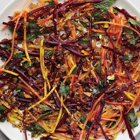 Carrot and Beet Slaw with Pistachios and Raisins
