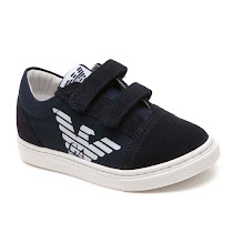 Armani Junior Two Strap Canvas Trainer VELCRO TRAINER