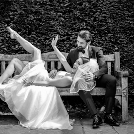 Just Married by Paul Phull - People Couples ( married, park, black and white, wedding, wedding dress, couple, fun )