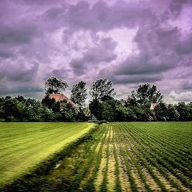 Farm House by Prasanta Das - Landscapes Prairies, Meadows & Fields ( field, cloudy day, farm house )