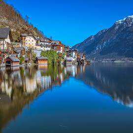 Reflections on the Lake Hallstatt by Arif Sarıyıldız - City,  Street & Park  Vistas ( hallstatt, lake hallstatt, reflections, austria, travel, colorful )