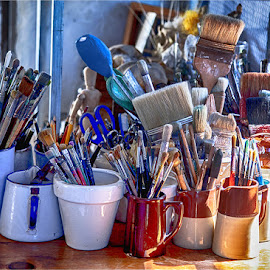 working brushes by Maricha Knight van Heerden - Artistic Objects Still Life ( blue, still life, art, beautiful, brushes, paint brushes, artwork )