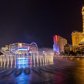The fountain at Bellagio, Las Vegas by Vamsi Sata - City,  Street & Park  Street Scenes ( dawn, nevada, street, night, casino, vegas )