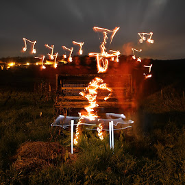 Moonlit Jammin by Augustin Cross - Abstract Light Painting ( music, field, piano, fireman, tophat, lightpainting, jamming, notes, lighter, longexposure, fire )