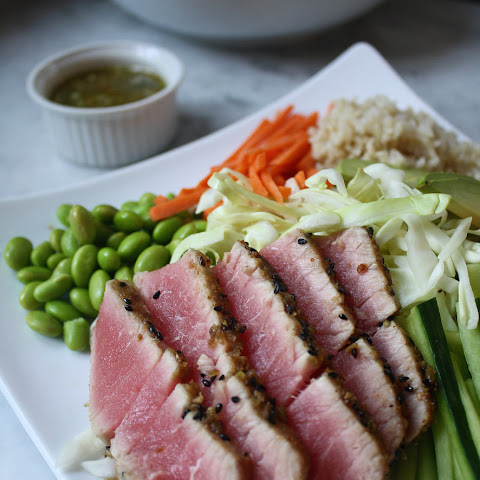 Asian Salad with Wasabi Crusted Ahi Tuna
