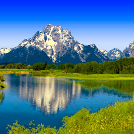 OXBOW BEND SNAKE RIVER GRAND TETONS by Gerry Slabaugh - Landscapes Waterscapes ( wyoming, snake river, grand tetons, oxbow bend snake river grand tetons, tetons )