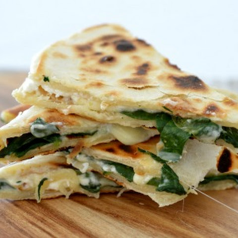 Spinach Pesto and Cheese Quesadillas
