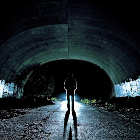 Scary Aura in lonely tunnel by Adam Scarf - City,  Street & Park  Street Scenes ( aura, tunnel )