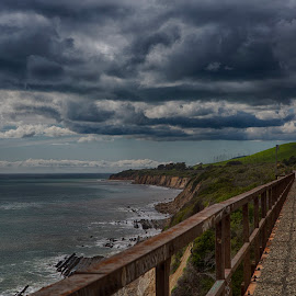 Storm over the tracks by Chris Seaton - Landscapes Travel ( clouds, railway, ocean, tracks, landscape, storm, coast )