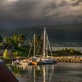 Calm before the Storm by Richard Michael Lingo - Transportation Boats ( storm, weather, norway, boats, transportation )