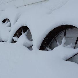 Snow Wheels by Jennifer Ablicki - Artistic Objects Antiques ( farm, snow, wheels, wagon, antique )