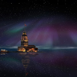 Night with Stars by Murat Can - Digital Art Places ( star, towermaide's tower, night, dark, sea, boat, tower )