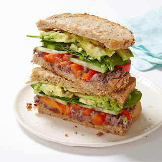 Veggie Sandwich with Lemony-Black Bean Spread