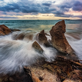 colours of the sea by Nicole Rix - Landscapes Sunsets & Sunrises ( clouds, waterscape, sunset, outdoor, seascape, rocks )