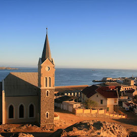 At the top. #felsenkirche #church #luderitz #namibia #canon #canon400d #lategram #2012 #toer #menseselense by Deon Strydom - City,  Street & Park  Historic Districts