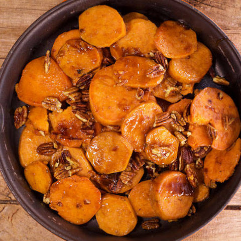 Kelsey Nixon's Skillet Candied Sweet Potatoes with Toasted Pecans