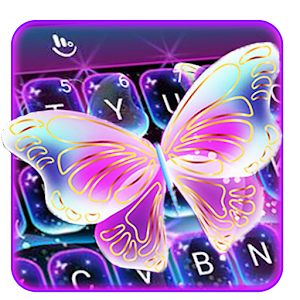 Colorful Glitter Neon Butterfly Keyboard Theme For PC