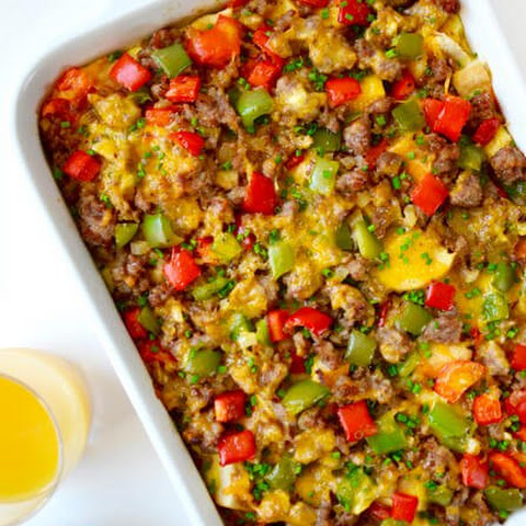 Overnight Egg Casserole with Breakfast Sausage
