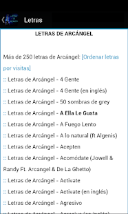 Letras de ARCÁNGEL - screenshot