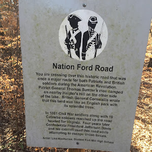 Nation Ford Road You are crossing over this historic road that was once a major route for both Patriots and British soldiers during the American Revolution. Patriot General Thomas Sumter's men camped ...