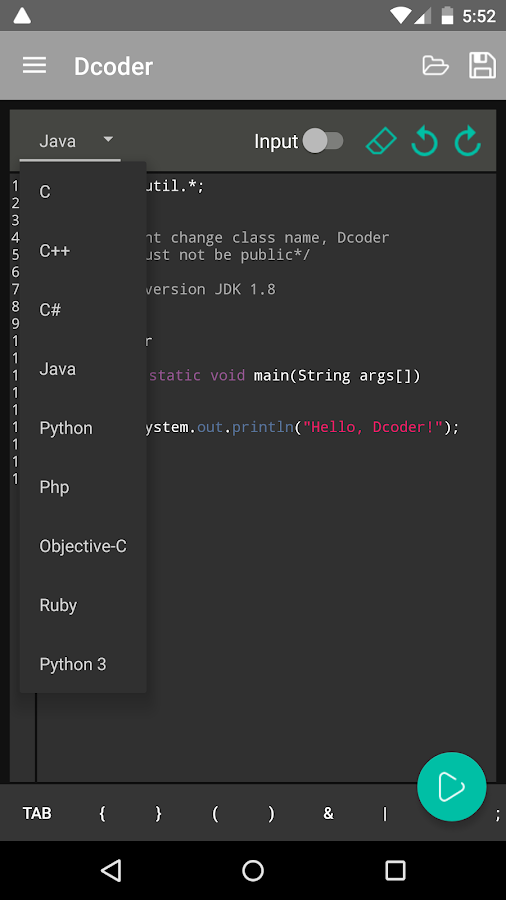 Dcoder, Mobile Compiler IDE Screenshot 1