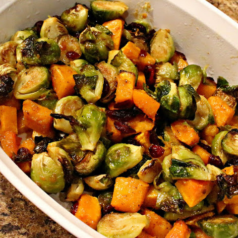 Balsamic Dijon Roasted Brussels Sprouts and Butternut Squash