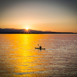 Kayak Sunset by Brad Larsen - Landscapes Sunsets & Sunrises ( mountains, nature, waterscape, sunset, landscape )
