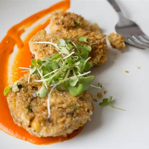 Vegan Crab Cakes with Red Pepper Aioli