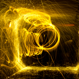 Spinning  by Tina Hailey - Abstract Light Painting ( abstract, light painting, spinning, tina's captured moments, fire, tunnel )