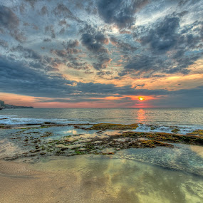 Sunset in Bali by Edwin Kosasih - Landscapes Sunsets & Sunrises ( mirror, bali, sunset, beach, talaga wangi )