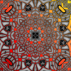 Mosaica by Nancy Bowen - Illustration Abstract & Patterns ( orange, red, digital art, white background, yellow, mosaic )