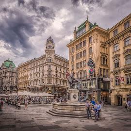 Graben by Ole Steffensen - City,  Street & Park  Street Scenes ( graben, street, shops, leopoldsbrunnen, austria, wien, vienna )