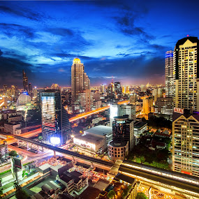 Metropolis  by Waraphorn Aphai - City,  Street & Park  Skylines ( bangkok, tower, night photography, night lights, thailand, this is bangkok, city life, cityscape )