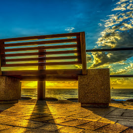 bench at the sea by Peter Schoeman - City,  Street & Park  City Parks ( clouds, blue sky, sky, bench, sea scapes, sunshine, ocean, sunrise, sunlight, shadows )
