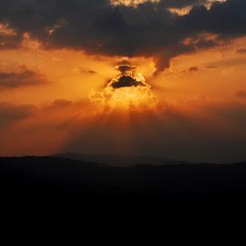 Celestial Light by Ashwini Attri - Landscapes Cloud Formations ( clouds, rooftop, light, sun, colours )