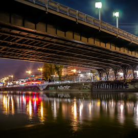 The old bridge.. by Jesus Giraldo - Buildings & Architecture Bridges & Suspended Structures ( lights, urban, concept, art, dark, buildings, reflections, night, bridge, river, city )