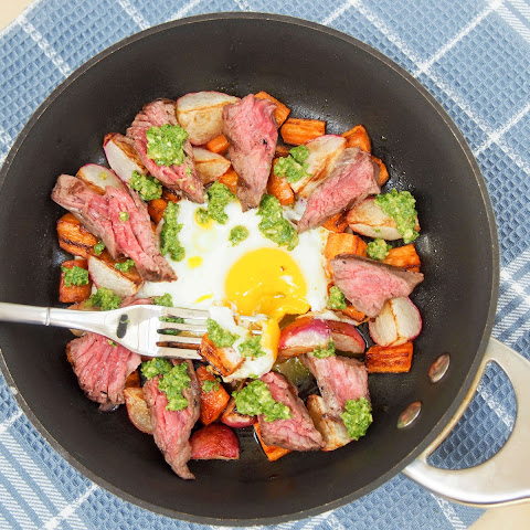 Steak & egg breakfast skillet with sauteed radishes, carrots & radish green pesto #SundaySupper