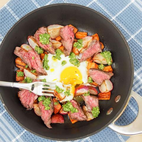 Steak & egg breakfast skillet with sauteed radishes, carrots & radish...