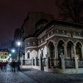 Old Orthodox Church by Catalin Mandu - Buildings & Architecture Statues & Monuments ( church, old. lights, night, people, greek church, nightlife, city at night, street at night, park at night, night life, nighttime in the city )