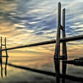 Double by Abílio Neves - Buildings & Architecture Bridges & Suspended Structures ( water, sky, sunrise, bridge, city )