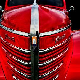 The Plymouth Rocks by Jeffrey Lorber - Transportation Automobiles ( lorberphoto, plymouth, lorber, 1940, jeffrey lorber, red car,  )