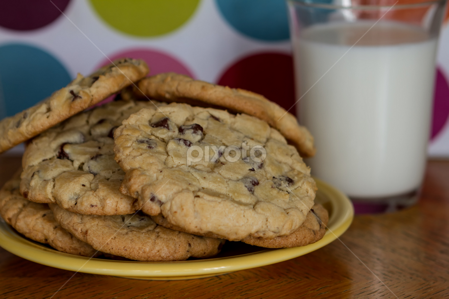 Cookies and Milk by Roger Bourland - Food & Drink Cooking & Baking ( cookie, tasty, chocolate chip, snack, baked, home made cookies )